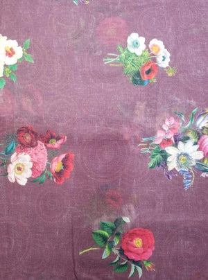 Linen Textured Floral Digital Rose Jasmine Printed Fabric