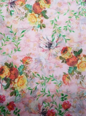 Fancy Linen Look Floral Digital Red And Yellow Rose Printed Fabric