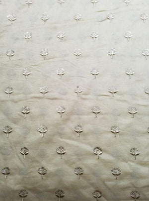 Cotton Mulmul Floral Embroidery Fabric with Gold Sequins - Zooomberg