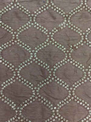 Geometrical Embroidery Fabric with Sequins and Thread Work - Zooomberg