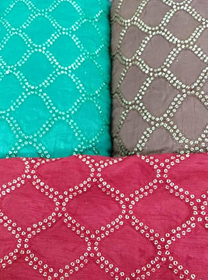 Geometrical Embroidery Fabric with Sequins and Thread Work