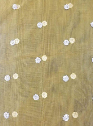 Net Embroidery Fabric with Gold Sequins