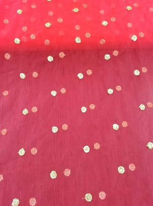 Net Embroidery Fabric with Gold Sequins - Zooomberg
