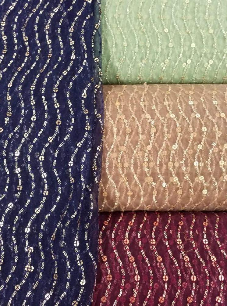 Fancy Premium Net Embroidery Fabric with Gold Sequins
