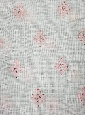 Cotton Kota Checks Embroidery Fabric with Gold Sequins