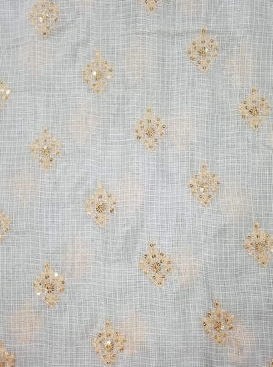 Cotton Kota Checks Embroidery Fabric with Gold Sequins - Zooomberg