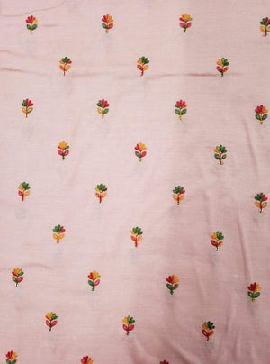 Fancy Linen Satin Floral Embroidery Fabric with Sequins