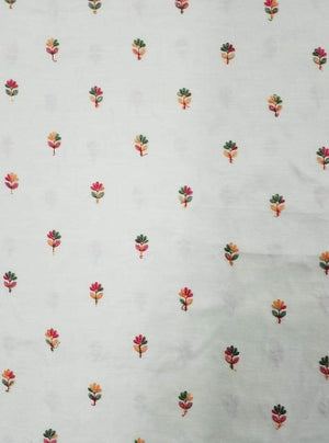 Linen Textured Satin Floral Embroidery Fabric with Sequins - Zooomberg