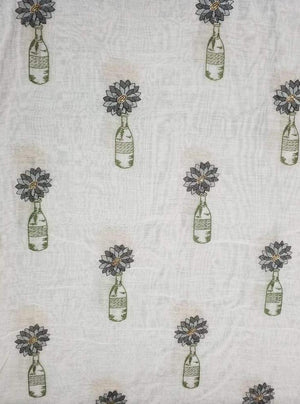 Pure Chanderi Silk Voil Bottle Flower Embroidery Fabric with Gold Sequins