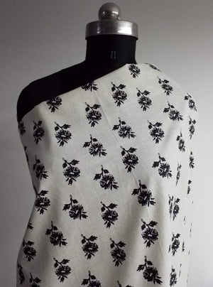 Cotton Cambric Black and White Floral Printed Fabric - Zooomberg