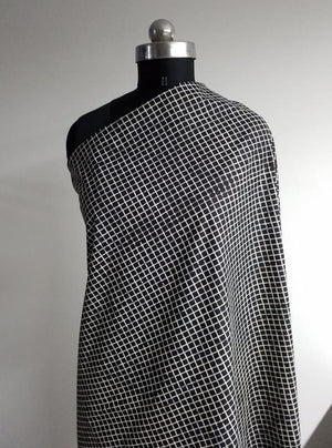 Cotton Cambric Black and White Checkered Printed Fabric - Zooomberg