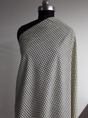 Cotton Cambric Black and White Checkered Printed Fabric