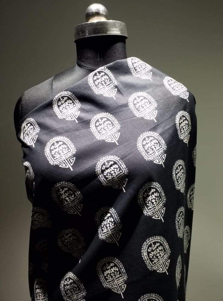 Cotton Cambric Oxidised Printed Fabric - Zooomberg