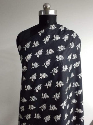 Cotton Cambric Black and White Floral Printed Fabric