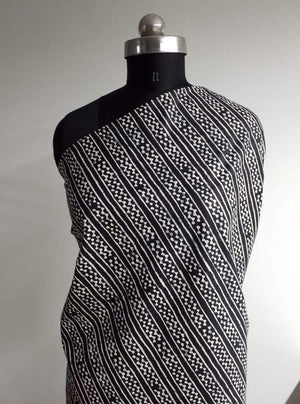 Cotton Cambric Black and White Linear Printed Fabric