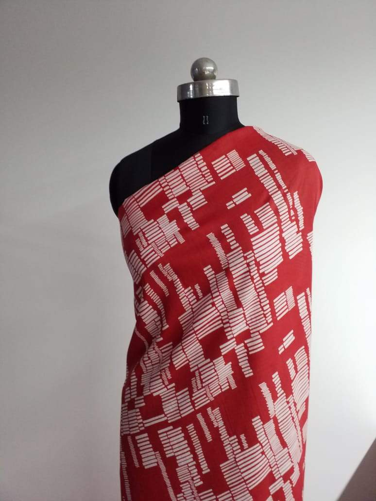 (Pre-Cut)Cotton Mulmul Geometrical Printed Fabric - Zooomberg