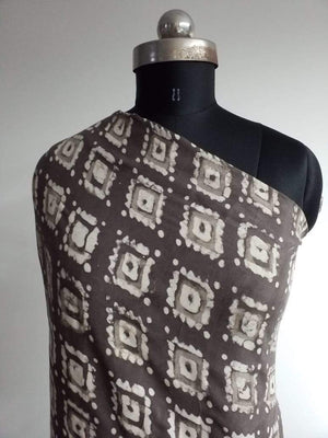 Pure Viscose Daboo Handblock Square Printed Fabric