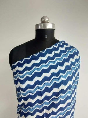 Pure Viscose Daboo Chevron Printed Fabric