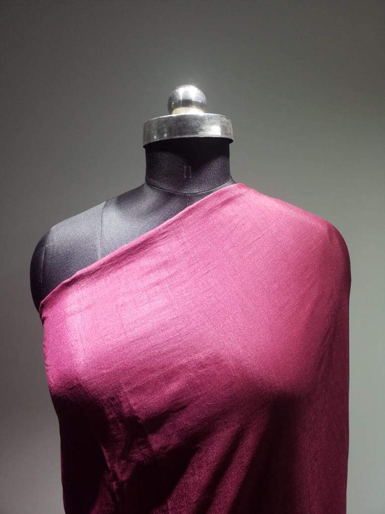 Rani Pink Plain Dyed Artificial Dolla Silk Fabric - Zooomberg