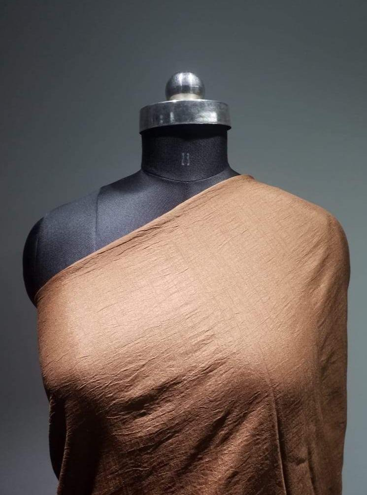 Bronze Plain Dyed Artificial Dolla Silk Fabric - Zooomberg