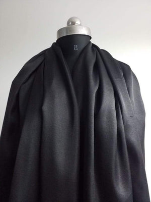 Jet Black Plain Dyed Linen Satin Fabric - Zooomberg