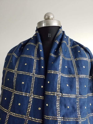 Stardots Geometric Artificial Dolla Silk Fabric with Mukaish Work - Zooomberg