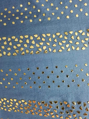Linear Stardots  Artificial Dolla Silk Fabric with Mukaish Work