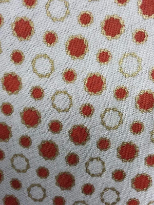 Orange Polka Dots Cotton Flex Fabric with Gold Print - Zooomberg