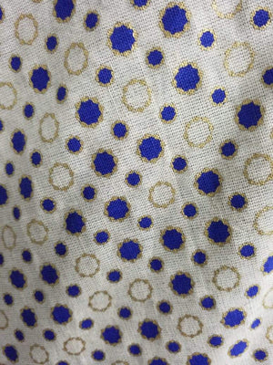 Blue Polka Dots Cotton Flex Fabric with Gold Print - Zooomberg