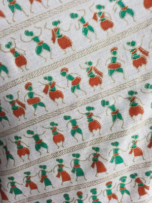 Orange Warli Pattern Cotton Flex Fabric with Gold Print - Zooomberg