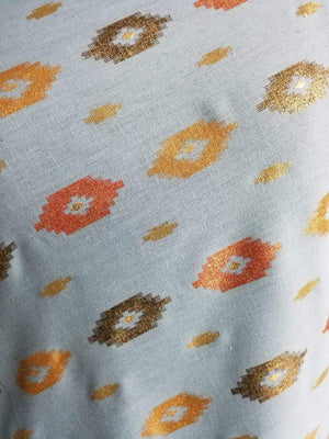 Ikat Pattern Cotton Flex Gold and Screen Printed Fabric - Zooomberg