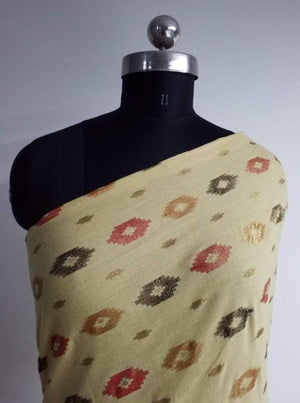 Ikat Pattern Cotton Flex Gold and Screen Printed Fabric