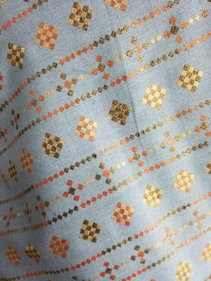 Square Checks Cotton Flex Gold Screen Printed Fabric - Zooomberg