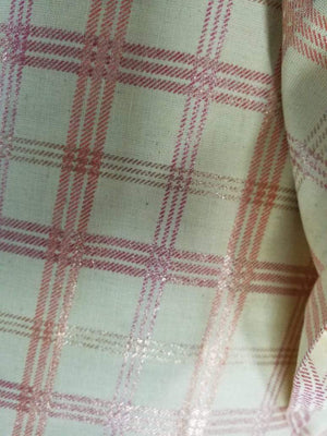 Gold Checkered Cotton Flex Screen Printed Fabric - Zooomberg
