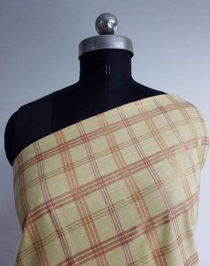 Gold Checkered Cotton Flex Screen Printed Fabric