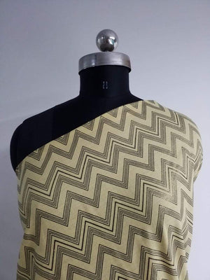Zig Zag Cotton Flex Gold Screen Printed Fabric - Zooomberg