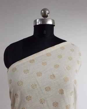 Gold Floral Cotton Flex Screen Printed Fabric - Zooomberg
