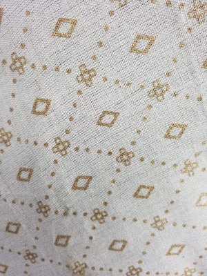 Gold Checks Cotton Flex Screen Printed Fabric