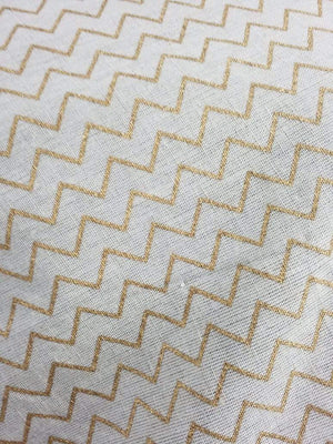 Gold Geometrical Cotton Flex Screen Printed Fabric - Zooomberg