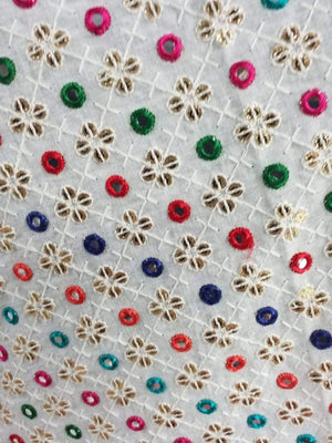Kutch Work Multi Color Cotton Embroidery Fabric with Mirror and Gold Sequins - Zooomberg