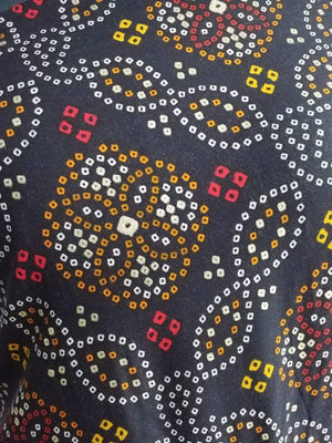 Rayon Bandhani Pattern Printed Fabric With Gold Foil