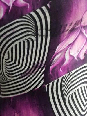 Floral Stripe Printed Satin Georgette Fabric - Zooomberg