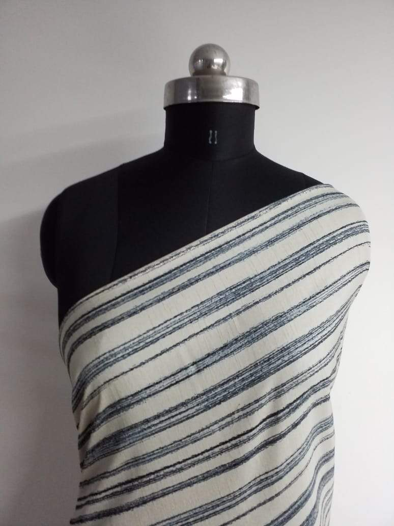 Stripe Printed Art Silk Fabric - Zooomberg
