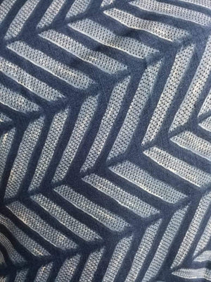 Dark Zig Zag Stripe Similar Printed Art Silk Fabric