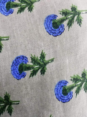 Floral Pattern Printed Linen Satin Fabric - Zooomberg