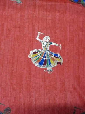 Dandiya Figure Printed Chinon Silk Fabric with Gold Foil