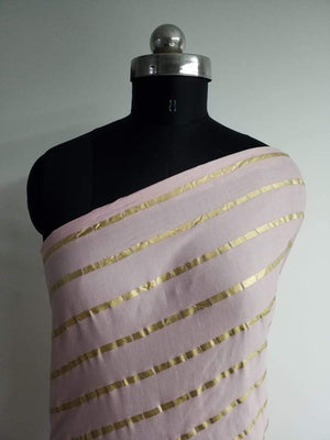 Stripe Pattern Gold Printed Linen Satin Fabric - Zooomberg