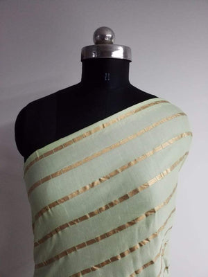 Stripe Pattern Gold Printed Linen Satin Fabric