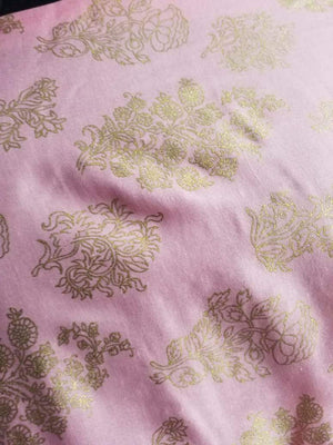 Floral Pattern Gold Printed Linen Satin Fabric - Zooomberg