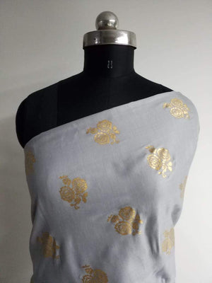 Floral Pattern Gold Printed Linen Satin Fabric